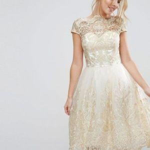 Chi Chi London Dresses - Chi Chi London Metallic Lace Midi Dress